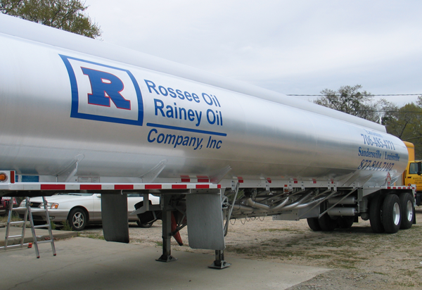 Vinyl Lettering on gas tanker